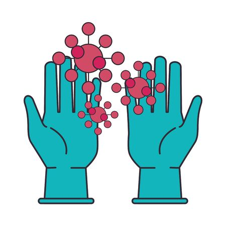rubber gloves with covid19 particles vector illustration design
