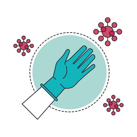hand with rubber glove medical protection and covid19 particles vector illustration design