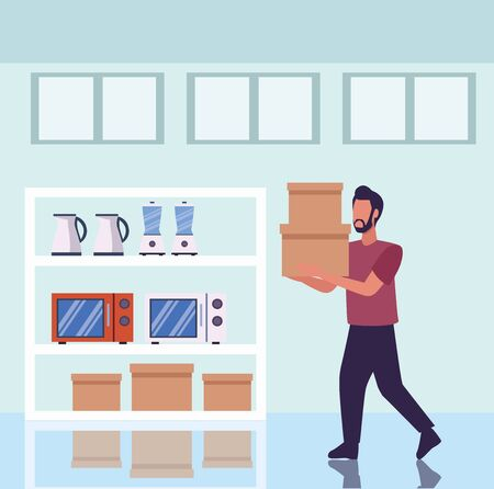 young man shopping appliances activity character vector illustration design Banque d'images - 149594268