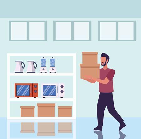 young man shopping appliances activity character vector illustration design Illusztráció
