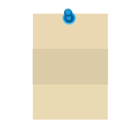 paper note sepia color with pin stick vector illustration design