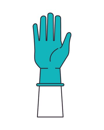 hand with rubber glove medical protection accessory vector illustration design