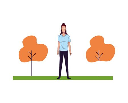 young woman female with trees park scene vector illustration design