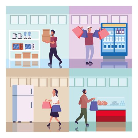 young couple shopping groceries activity characters vector illustration design