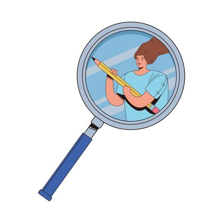 young woman female with pencil in magnifying glass vector illustration design