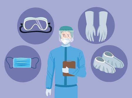 doctor with biosafety equipment elements for covid19 protection vector illustration design Ilustração