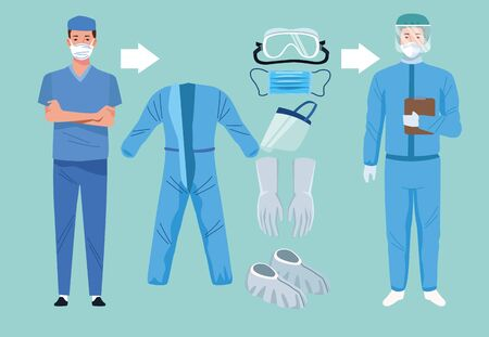 doctors with biosafety equipment elements for covid19 protection vector illustration design