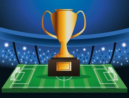 Fußballpokal-Turnierplakat mit Trophäe im Lagervektorillustrationsdesign Vektorgrafik