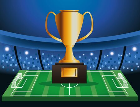 soccer cup tournament poster with trophy in camp vector illustration design Vetores