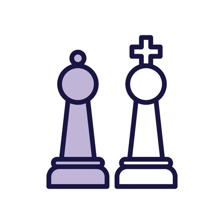 king and queen chess game pieces line style vector illustration design