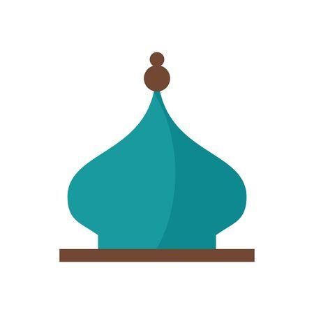 eid mubarak mosque cupule flat style icon vector illustration design