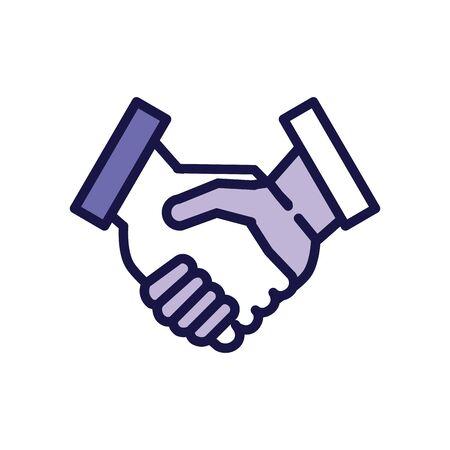 handshake greeting line style icon vector illustration design