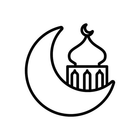 eid mubarak mosque cupule in moon line style icon vector illustration design