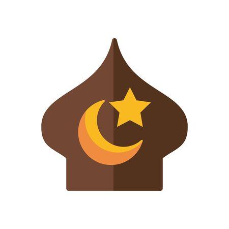 eid mubarak mosque cupule with moon and star flat style icon vector illustration design Ilustração