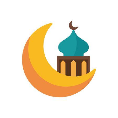eid mubarak mosque cupule in moon flat style icon vector illustration design