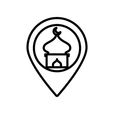 eid mubarak mosque cupule in pin location line style icon vector illustration design Ilustração