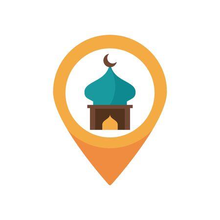 eid mubarak mosque cupule in pin location flat style icon vector illustration design