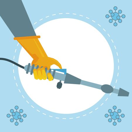 disinfect and clean activity with hand using sprayer machine vector illustration design