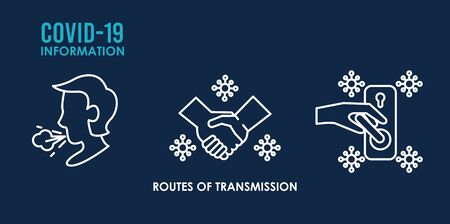 routes of transmission infographics icons vector illustration design