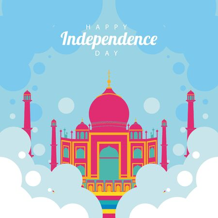 india independence day celebration with taj mahal mosque vector illustration design