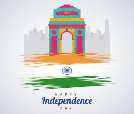 india independence day celebration with mosque arch and flag vector illustration design