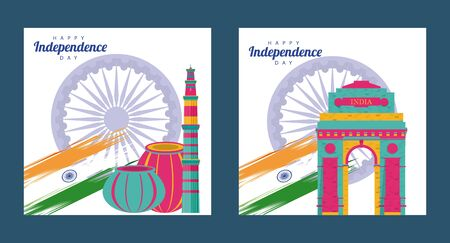 india independence day celebration with ashoka chakras and mosques vector illustration design