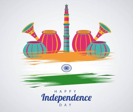india independence day celebration with mosque tower and set icons vector illustration design