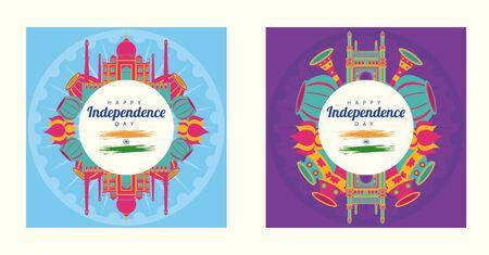 india independence day celebration with icons in circular frames vector illustration design Ilustração
