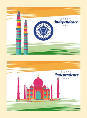 india independence day celebration with taj mahal mosque and ashoka chakra vector illustration