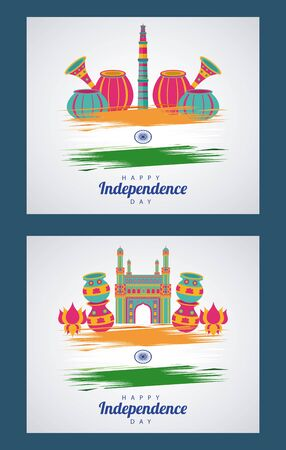 india independence day celebration with flags and icons vector illustration design Ilustração