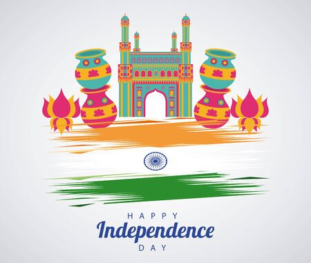 india independence day celebration with mosque temple and flag vector illustration design