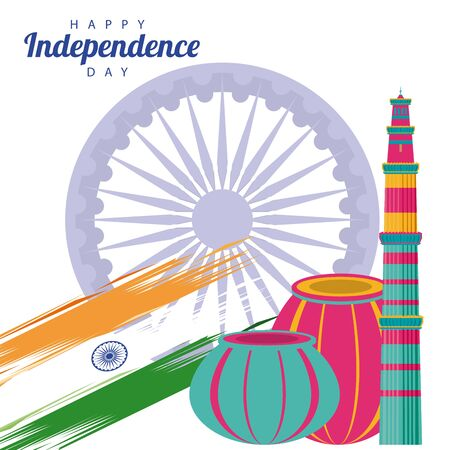 india independence day celebration with ashoka chakra and flag vector illustration design
