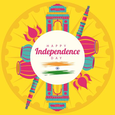 india independence day celebration with icons in circular frame vector illustration design