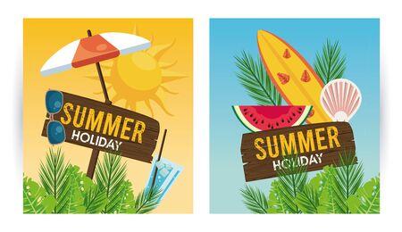 summer holiday label with set icons vector illustration design Vektoros illusztráció