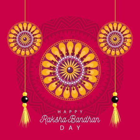 India Raksha Bandhan flowers decoration frame vector illustration design