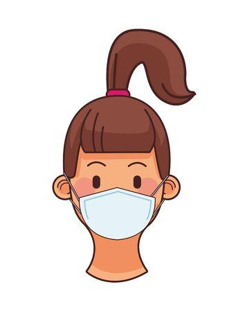 cute little girl wearing medical mask head character vector illustration design