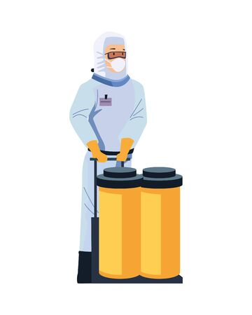 biosafety worker with tanks character vector illustration design
