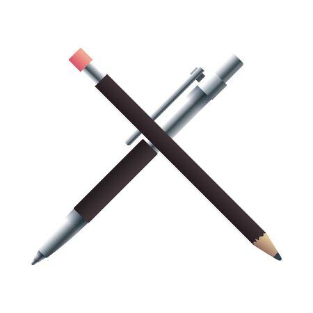 pen and pencil with stationery templates vector illustration design Ilustração