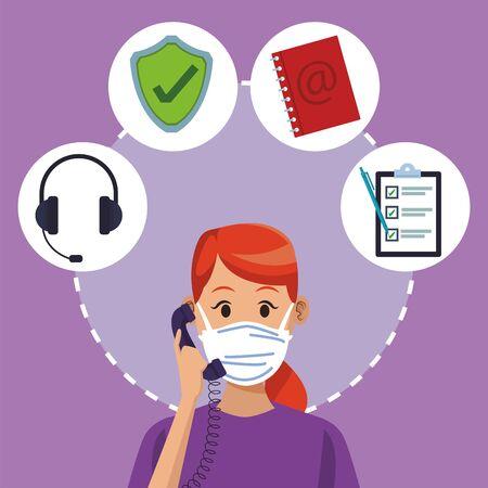 call center support female worker wearing medical mask vector illustration design Иллюстрация