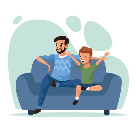 father and son Stay at Home campaign vector illustration design
