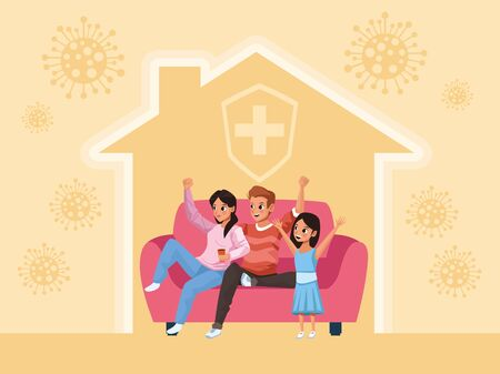 parents couple and daughter Stay at Home family campaign vector illustration design