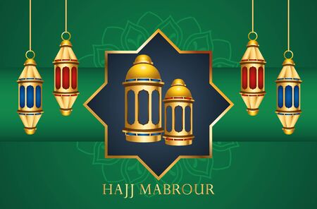hajj mabrour celebration with golden lanterns hanging vector illustration design