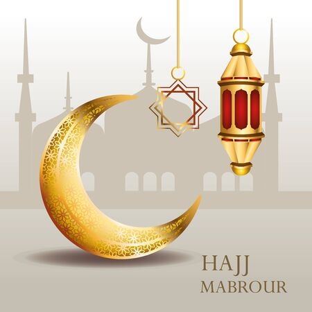 hajj mabrour celebration with golden lantern and moon vector illustration design