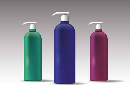 set of plastic bottles products with push dispenser vector illustration design