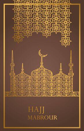 hajj mabrour celebration with golden taj mahal vector illustration design