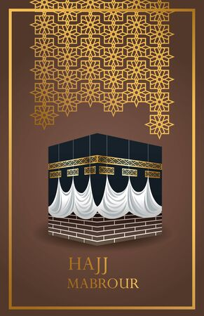 hajj mabrour celebration with golden lanterns and mecca monument vector illustration design