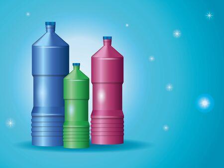 set of plastic bottles products vector illustration design