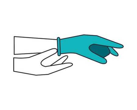 hands human with rubber gloves mode using infographic vector illustration design