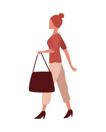 young woman fashion wear with elegant bag character vector illustration design