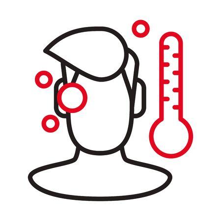person with fever covid19 symptom line style icon vector illustration design